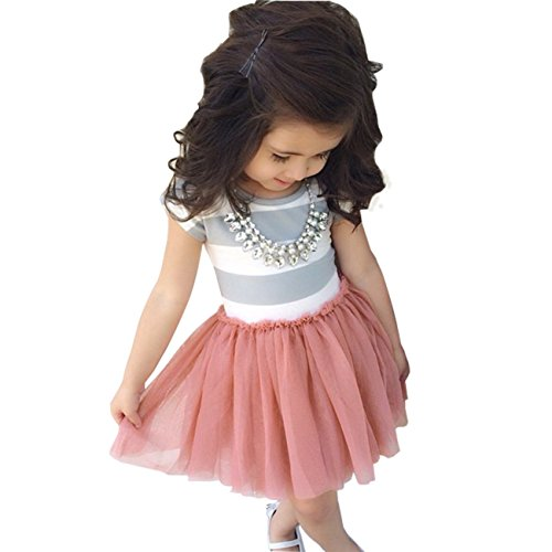 Meihuida Little Girls Short Sleeve Striped Clothing Chiffon Skirt Cotton Dress (5T(for 5-6 Years))