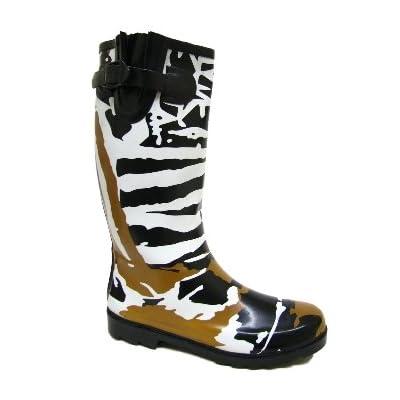 Womens Funky Black White Brown Zebra Ladies Wellies Festival Wellington Rain Boots
