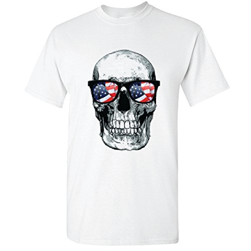 Amazing Items Skull With American Flag Sunglasses For Halloween And Day Of The Dead Men's T-Shirt, X-Large, White