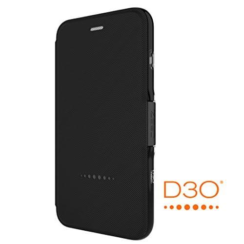【Gear4】iPhone7plusケース 手帳型 OXFORD 英国発人気ブランド 冬季五輪スキー競技や米特殊部隊でも使用のD3Oテクノロジー採用 衝撃吸収 落下 耐衝撃 カード収納 スタンド機能 アイフォン 7 プラス用 手帳型ケース カバー (iPhone7 Plus、ブラック)