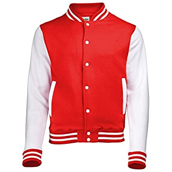VARSITY COLLEGE JACKET ( EXTRA SMALL - Fire Red / White ) NEW PREMIUM Unisex American Style Letterman Blank Baseball Custom Top Mens Womens Ladies Gift Present Quality AWD Soulstar Omega Bomber - By Fonfella