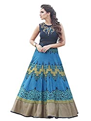 VH Fashion Women's New Sky Blue Colour Floor Touch Semi Stitched Designer Printed Gown
