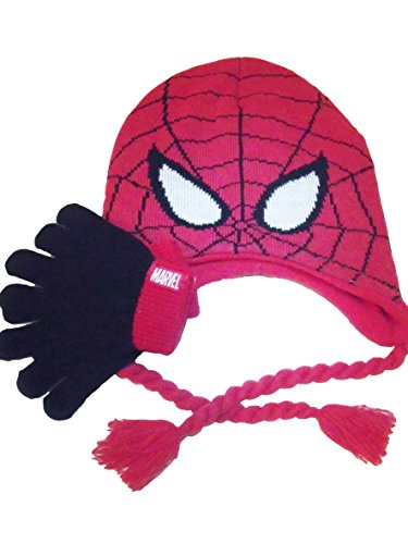 Spiderman Beanie Hat Gloves Red With Ties Winter Knit Boys Toddler Kids