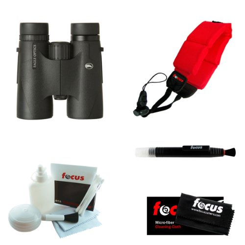 Eagle Optics Denali 8X42 Roof Prism Binoculars With Focus Foam Float Strap (Red) And Deluxe Accessory Kit