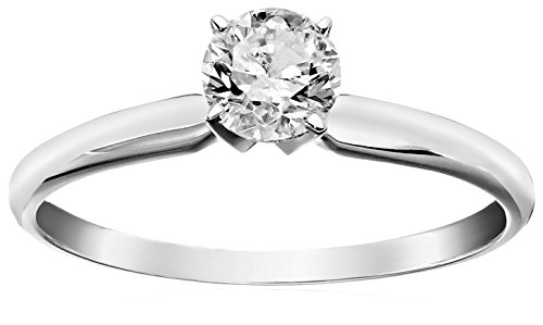 14k Round Solitaire White Gold Engagement Ring (1/2cttw, H-I Color, I3 Clarity), Size 6
