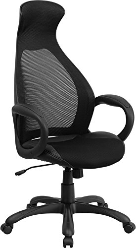 Flash Furniture Ch-Cx0528H01-Bk-Lea-Gg High Back Executive Mesh Chair With Leather Inset Seat, Black