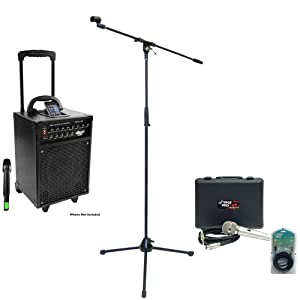 Pyle Speaker, Mic, Cable and Stand Package - PWMA930I 600 Watt VHF Wireless Portable PA Speaker System/Echo W/Ipod Dock - PDMIK4 Dynamic Microphone with Carry Case - PMKS2 Tripod Microphone Stand w/Boom - PPFMXLR15 15ft. XLR Male to XLR Female Microphone Cable