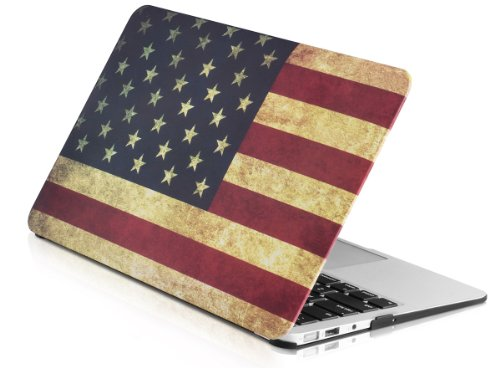 Plemo Ultra Slim Rubberized Hard Snap-On Case Shell Cover For 11'' Macbook Air (Model A1370 / A1465) Laptop Computer, American Flag