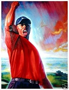 Tiger Woods Roars Museum Quality Signed Autographed Canvas Art Golf LE 132 175 by Your Sports Memorabilia Store
