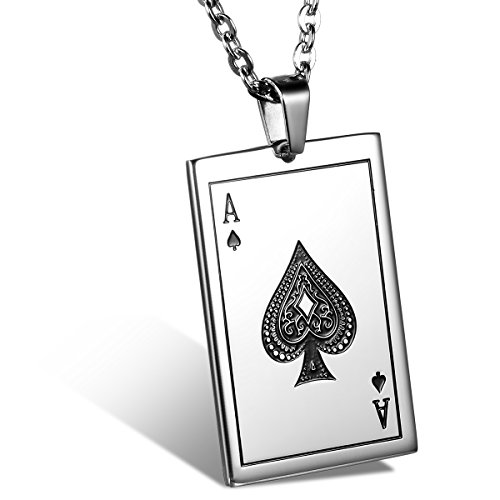 JewelryWe Stainless Steel Ace of Spades Card Poker Pendant Mens Womens Necklace 22 inch Chain (Men Pendant Ace compare prices)