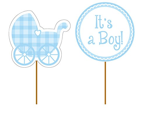 Creative Converting 93228 12 Count Baby Boy Gingham Decorative Cupcake Picks, Blue