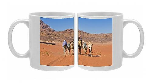 Photo Mug Of Camel Caravan In The Stunning Desert Scenery Of Wadi Rum, Jordan, Middle East From Robert Harding