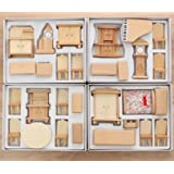 Miniature New 29 Pcs 1:24 Scale Unpainted Wooden Furniture Model Suite ZevenMart DIY Dollhouse Accessories … (Color: Natural, Tamaño: 1:24)
