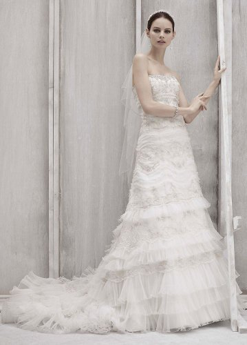 David&#8217;s Bridal Wedding Dress: Petite Strapless Lace and Tulle Slim Gown Style 7CWG352