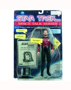 "7"" Commander William Riker Action Figure - Star Trek Space Talk Series - Hear Jonathan Frakes' Actual Voice Speaking - 1"