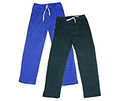 IndiWeaves Women Super Combo Pack 4 (Pack of 2 Lower/Track Pant and 2 T-Shirt)_Blue::Gray::Red::Blue_XL