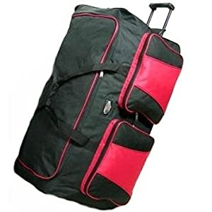 Compass Extra Large 34 Inch Lightweight Wheeled Holdall (Black/Red) by Compass