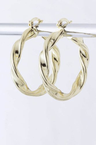 Baubles & Co Twisted Metal Hoop Earrings (Gold) front-180326