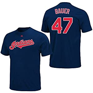 Trevor Bauer Cleveland Indians Navy Player T-Shirt by Majestic Select Size: Large