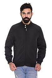 Trufit Full Sleeves Solid Men's Black High Neck Lightweight Sports Polyester Blend Jacket withour Filler