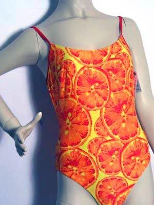 SOLAR Bügel-Badeanzug orange mit Orangen-Druck Gr. 38-A NEU