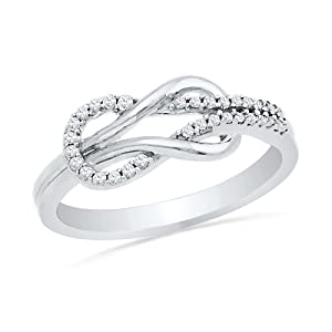 Sterling Silver Round Diamond Twisted Knot Fashion Ring (1/6 cttw)