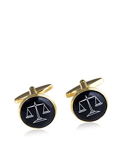 Bey-Berk Plated Round Cufflinks With Scales Design