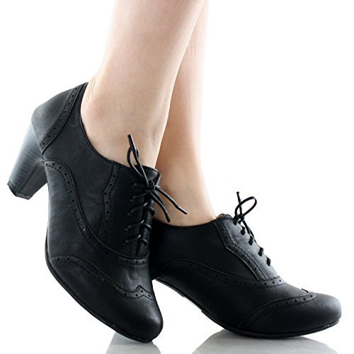 Refresh Women Leatherette Lace Up Oxford Chunky Heel Bootie Black 8.5 B(M) US