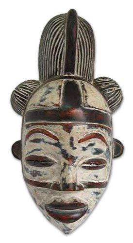 NOVICA Decorative Gabonese Large Sese Wood Mask, White, 'Punu Spirit'