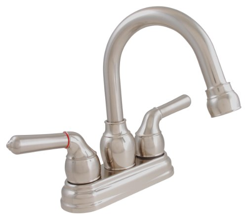 LDR 952 46405BN Exquisite Bathroom Faucet, Gooseneck Swing Spout, Dual Tulip Handle, With Pop-Up, Lifetime Plastic, Brushed Nickel