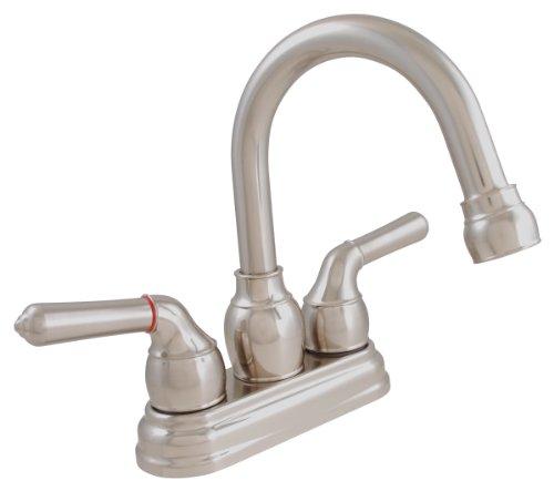 LDR 952 46405BN Exquisite Bathroom Faucet, Gooseneck Swing Spout, Dual Tulip Handle, With Pop-Up, Lifetime Plastic, Brushed Nickel
