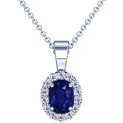 18K White Gold Cushion Cut Blue Sapphire And Round Diamond Pendant