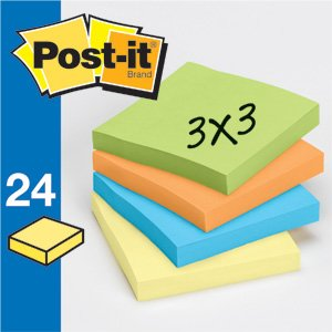 "Post-It Self Stick Pad Assorted 3"" X 3"" 24 Ct"