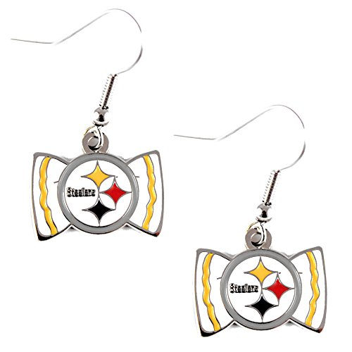 Aminco International NFL Pittsburgh Steelers Team Logo Bow Tie Earring Dangle from Aminco International