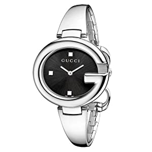Gucci Guccissima Collection Women's Quartz Watch with Black Dial Analogue Display and Stainless Steel Bangle YA134301