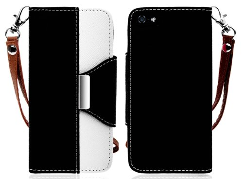Mylife (Tm) Black And White Stylish Design - Textured Koskin Faux Leather (Card And Id Holder + Magnetic Detachable Closing) Slim Wallet For Iphone 5/5S (5G) 5Th Generation Itouch Smartphone By Apple (External Rugged Synthetic Leather With Magnetic Clip +