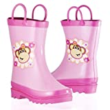 Girl's Pink Floral Monkey Rain Boots (Toddler/Little Kid)