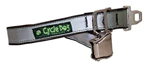 Cycle Dog Bottle Opener Recycled Dog Collar with Seatbelt Metal Buckle, Silver Max Reflective, Large