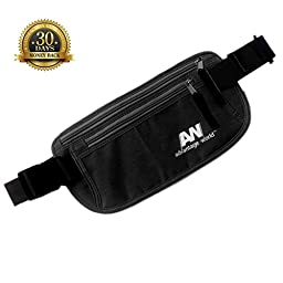 Travel Money Belt. The Undercover Hidden Waist Stash in Black with RFID. Sturdy and Secure. Travel Pouch for Holding Phone, Passport, Credit Cards, Boarding Pass and Cash.
