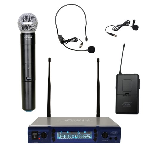 Audio2000S 6952Ulx Uhf 200 Frequency Portable Wireless Microphone W/ Lavalier, Headset & Handheld