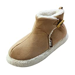 Ifoot Mens Suede Warm Booties Cotton Indoor Slippers F12001 (Yellow, 8-8.5)