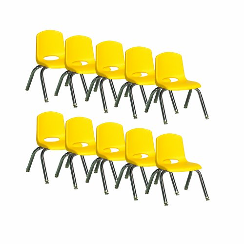 """Ecr4Kids School Stack Chair With Chrome Legs/ Nylon Swivel Glides, 10"""" Seat Height Seat Height, Yellow, 10-Pack front-1070697"""