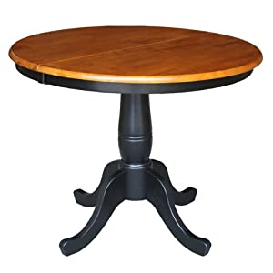International Concepts 36 Inch Round Top Pedestal Table With 12 Inch Leaf 30 Inch
