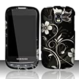 Samsung Transform Ultra M930 Accessory - Black / Silver Vine Flower Butterflies Design Protective Hard Case Cover for Sprint / Boost Mobile