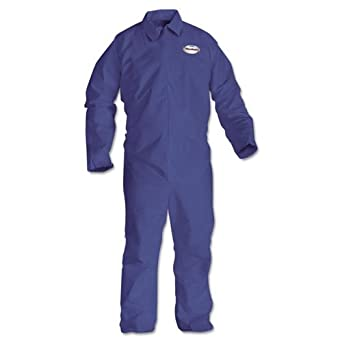 Kimberly-Clark KleenGuard SMS Fabric A65 Prevail Flame Resistant Coverall with Zipper Front, 2X-Large, Blue 45315 (Case of 25)
