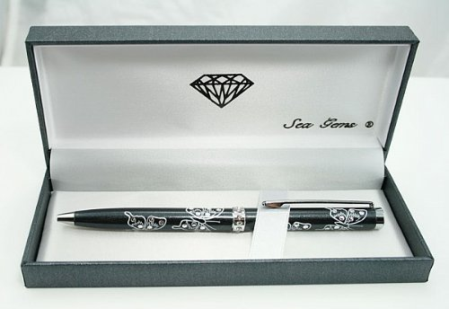 Lj Designs Crystal Pearlised Butterfly Ballpoint Pen (Sg67)