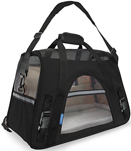 OxGord Airline Approved Pet Carriers w/ Fleece Bed For Dog & Cat – Large, Soft Sided Kennel – 2016 Newly Designed Model, Onyx Black