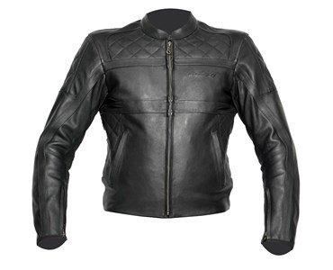 Veste de moto en cuir noir rétro TVD