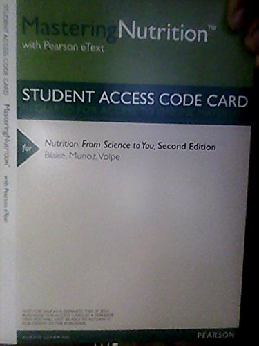 Masteringnutrition Plus Mydietanalysis With Pearson Etext -- Valuepack Access Card -- For Nutrition: From Science To You