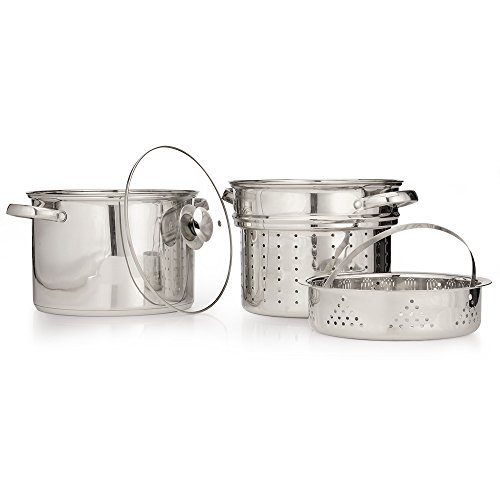 Ecolution ESTL-4908 Pure Intentions 8-Quart Stainless Steel Everything Pot with Glass Lid, Steamer and Pasta Insert, Silver